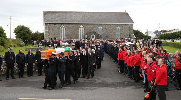 The funeral of Coast Guard volunteer Caitriona Lucas at St Brigid's Church in Liscannor, Co Clare