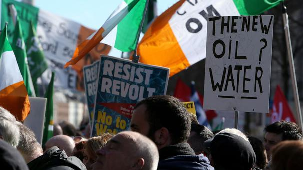 Protesters during an earlier demonstration against water charges