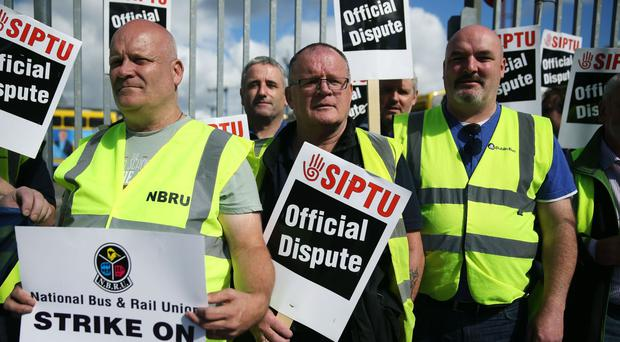 Dublin Bus workers on a previous strike