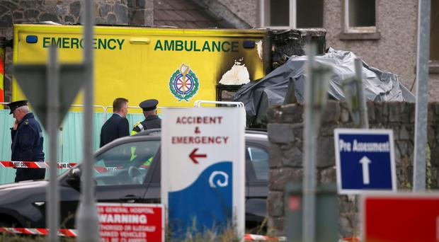 The scene at Naas General Hospital in Co KIldare after a patient died and a medic was injured after an ambulance burst into flames. Photo: Niall Carson/PA Wire