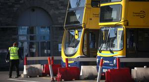 Buses sit idle at the Broadstone Bus depot in Dublin during earlier strikes