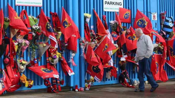 Dozens of tributes to Munster coach Anthony Foley have been left outside Thomond Park in Limerick