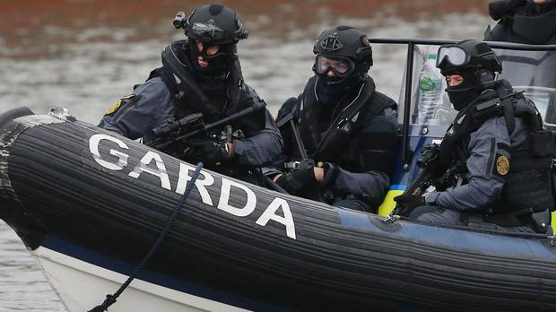 Members of the Garda Emergency Response Unit and Regional Support Unit take part in a major emergency training exercise in Drogheda Port