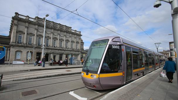 The crash involved a Luas tram and a sightseeing bus