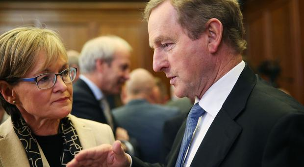 Taoiseach Enda Kenny in conversation with Mairead McGuinness MEP and Vice-President of the European Parliament, at the All-Island Civic Dialogue on Brexit at the Royal Hospital Kilmainham in Dublin.