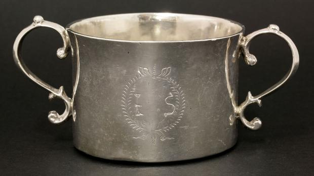 A rare shallow bowl made of Irish silver, which will be auctioned in England later this month (Sworders/PA)