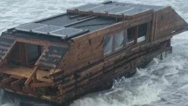 The houseboat apparently drifted across the Atlantic from Canada (Ballyglass Coast Guard Unit/PA)