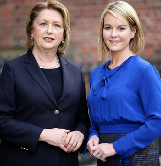 Mary McAleese with host Claire Byrne at the Tiffany Awards in Dublin yesterday