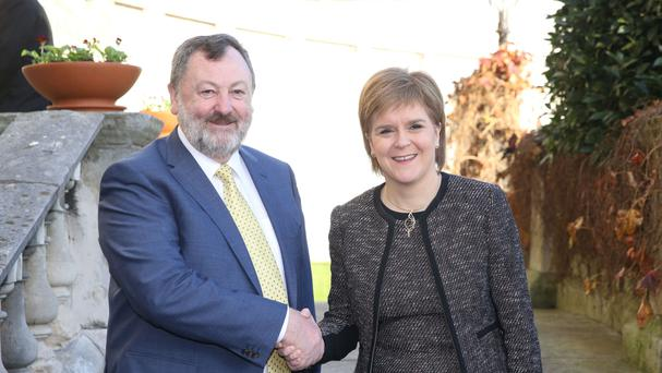Cathaoirleach of the Seanad Senator Denis O'Donovan greets Scottish First Minister Nicola Sturgeon