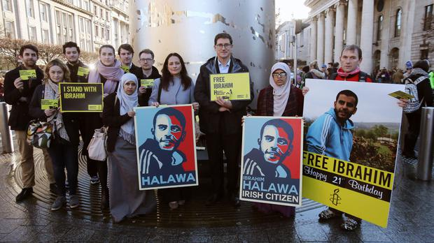 Campaigners call for the release of Ibrahim Halawa on an awareness day as he celebrates his 21st birthday behind bars in Egypt