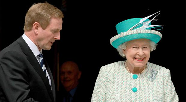 Taoiseach Enda Kenny welcomes the Queen to Government Buildings, Dublin