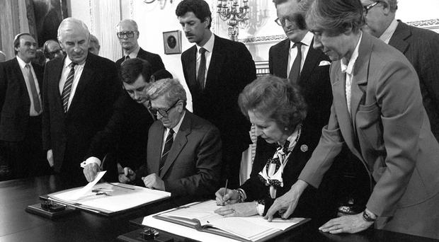 Margaret Thatcher and Garret Fitzgerald at the Anglo-Irish Ulster Agreement signing ceremony held at Hillsborough Castle, Belfast