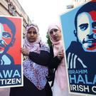 Nosayba (left) and Somaia Halawa, sisters of Ibrahim Halawa, in Dublin campaigning for his release