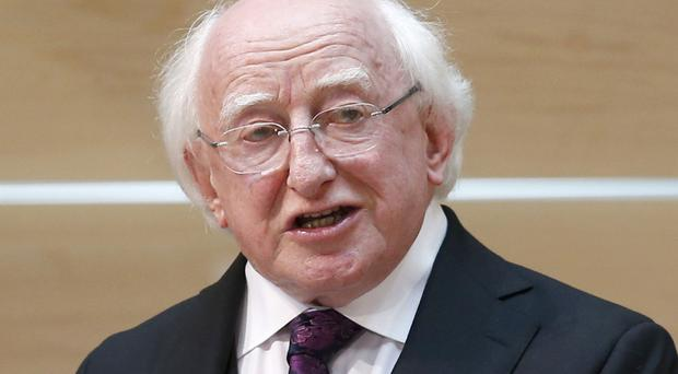 President Michael D Higgins opend the 53rd BT Young Scientist Exhibition in the RDS in Dublin