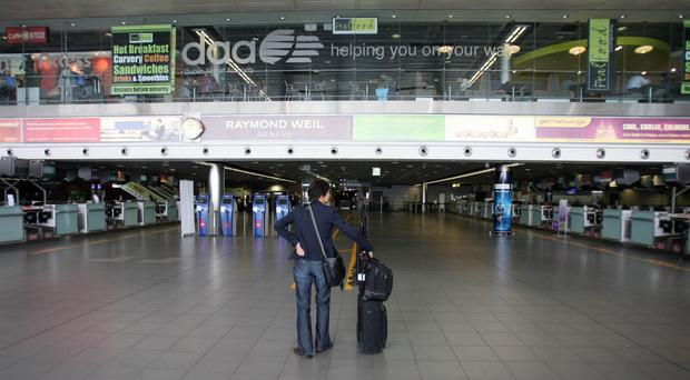 A passenger in the departures area of Dublin Airport