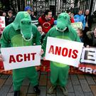 Irish language campaigners protest outside Belfast's High Court