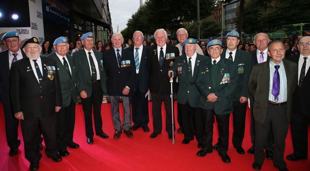 The surviving members of A Company attended the screening of The Siege of Jadotville at the Savoy Cinema in Dublin last year