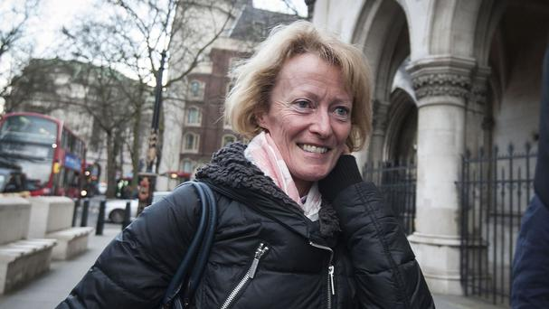 Margie Hanley outside the High Court in London