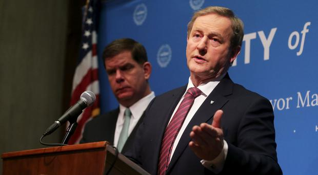 Enda Kenny holds a joint press conference with Boston mayor Marty Walsh
