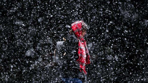 Snowfalls of up to 22 inches are forecast for Tuesday (AP)