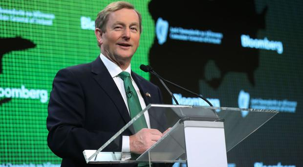 Enda Kenny addresses staff at Bloomberg headquarters in New York