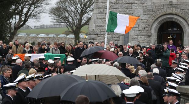 The coffin arrives for the funeral of Captain Dara Fitzpatrick at St Patrick's Church, Glencullen