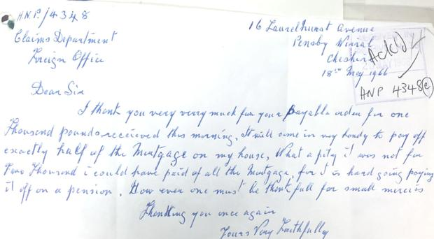 Handwritten letters to the British government from Irish merchant seaman James Aldous Furlong applying for and subsequently thanking the official for compensation (National Archives/PA)