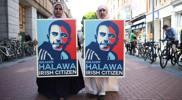 Sisters of Ibrahim Halawa, who is being held in Egypt