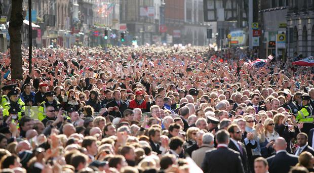 A crowd of people in Ireland during a visit to Dublin by Barack Obama
