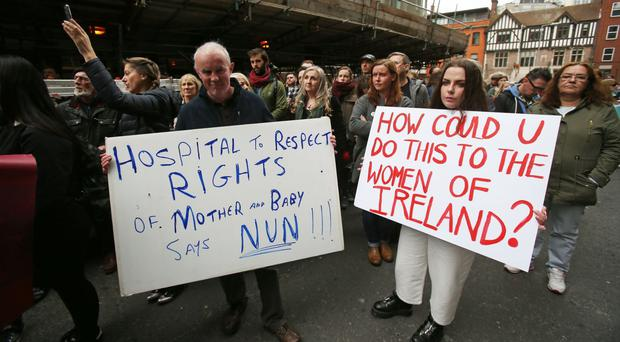 Protesters condemn plans to grant ownership of the new National Maternity Hospital to the Sisters of Charity religious order