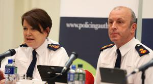 Garda Commissioner Noirin O'Sullivan and Deputy Commissioner John Twomey at Dublin Castle during a meeting with the Policing Authority