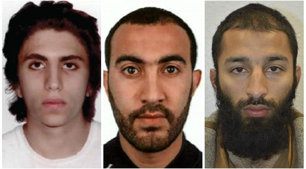 London Bridge attackers Youssef Zaghba, Rachid Redouane and Khuram Shazad Butt (Met Police/PA)