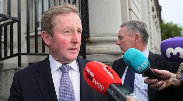 Outgoing Taoiseach Enda Kenny arrives at Government Buildings, Dublin, for his last day in the role