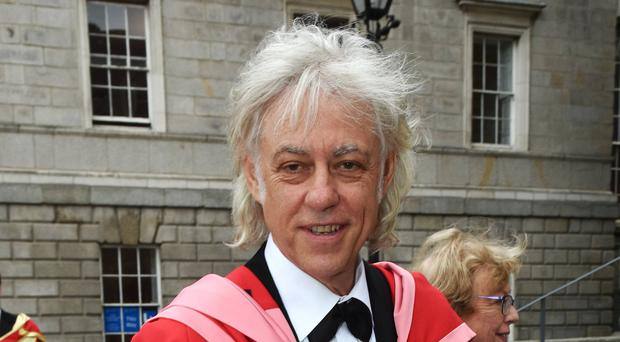Bob Geldof with his honorary doctorate at Trinity College, Dublin, yesterday