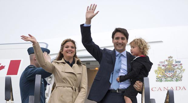 Justin Trudeau arrives at Dublin airport with his wife Sophie Gregoire Trudeau and their son Hadrien