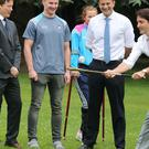 Justin Trudeau is put through his paces with a hurling stick
