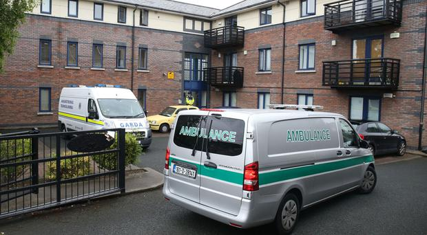 Emergency services at the apartment complex in Kimmage, Dublin, where the toddler lived with his mother