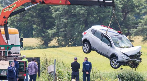 The Nissan Qashqai car is removed from Swilly Burn river near Porthall in Lifford