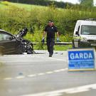A garda at the scene of the fatal crash near Ardee, Co Louth