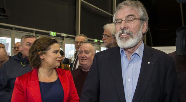 Gerry Adams with Sinn Fein colleague Mary Lou McDonald
