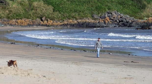 Balbriggan Beach in north Dublin amid warnings about sewage from the Environmental Protection Agency
