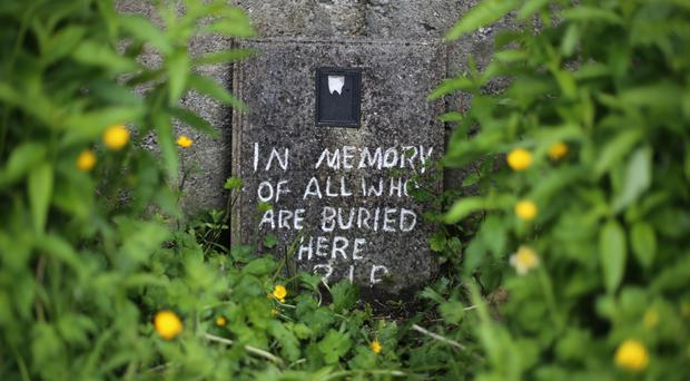 A message at the site of a mass grave for children who died in the Tuam mother and baby home, Galway