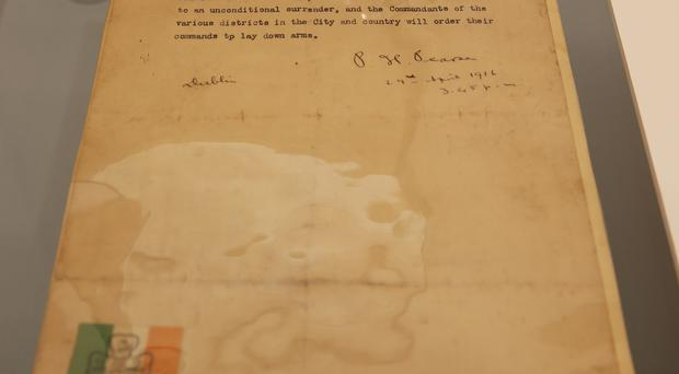 A typed and signed document of Patrick Pearse's final order of surrender