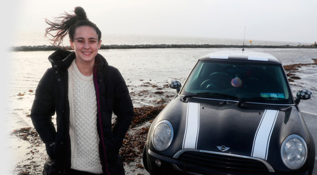 Selina Callaghan at the car park on Salthill Promenade in Galway, from which she was forced to flee