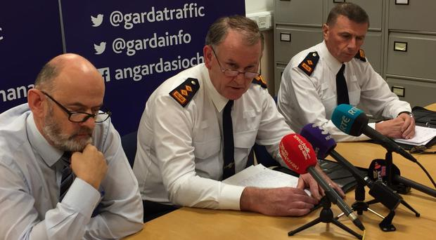 Chief Superintendent Christy Mangan, centre, at Dundalk Garda station