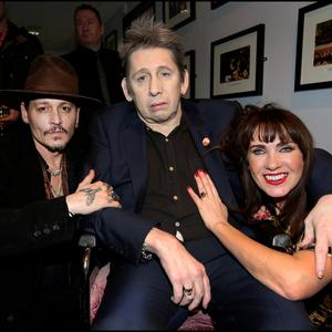 Johnny Depp and Victoria Mary Clarke with Shane MacGowan at his 60th birthday celebration