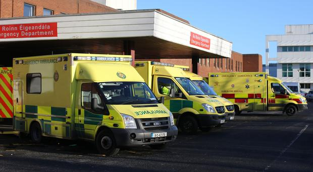 Ambulances outside Beaumont Hospital in Dublin (Niall Carson/PA)