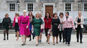 Past and present female members of the Oireachtas at Leinster House (Niall Carson/PA)
