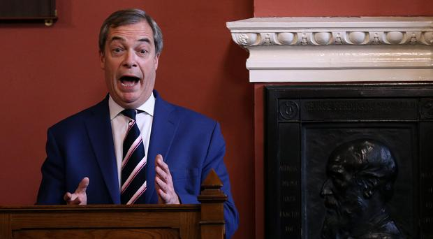 Nigel Farage speaks at Trinity College Dublin. (Brian Lawless/PA)