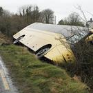 The scene where a school bus crashed in Caherconlish, Co Limerick (Niall Carson/PA)